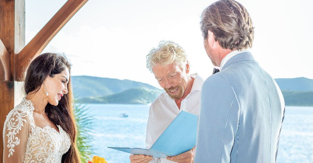 Saye Yabandeh Jeffrey Neal Say I Dos with Richard Branson